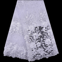 White Color Luxury African Embroidery 3D Flower Handmade Beaded Pearls Tulle Lace Fabric With Rhinestones For Wedding