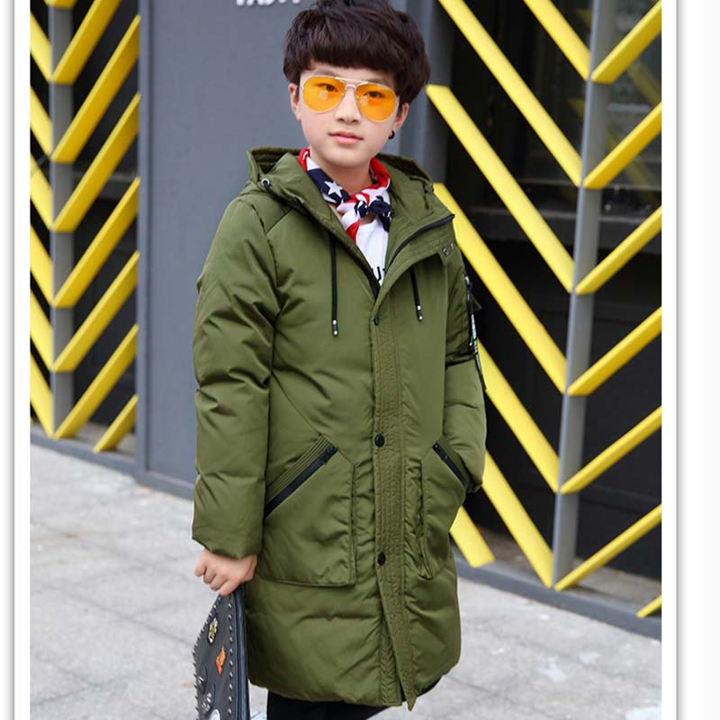 Big Children's Duck Down Jackets 9-16 Years Boys Winter Long Down Coats Warm Hooded Thick Overcoat Outerwear Kids Casual Parkas топор туристический duck commander® quax 9 9 см