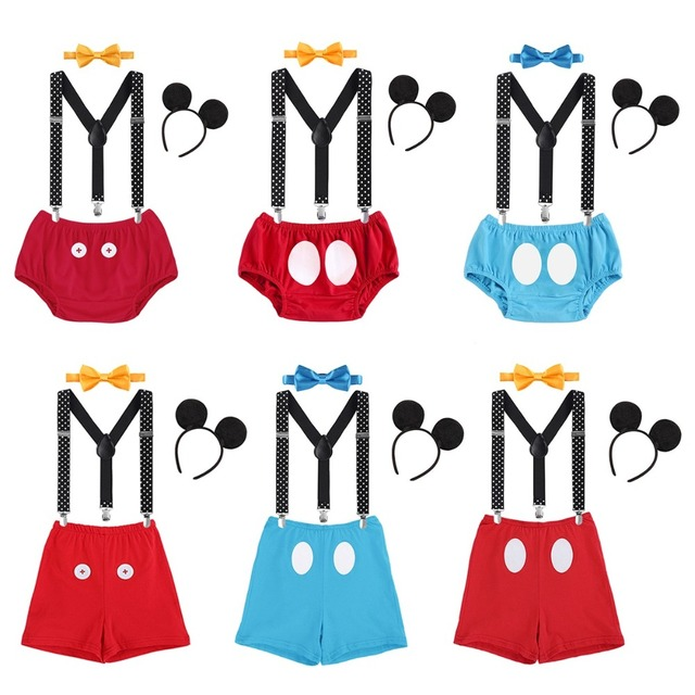 4pcs Set Baby Boy Girl Clothes Cake Smash Outfits Mickey Mouse Headband Suspender Pants Bow 1st
