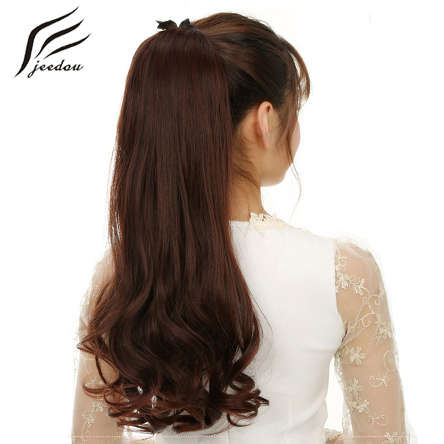 Jeedou Wavy Hair Ponytails 22 55cm 80g Ribbon Ponytail Synthetic