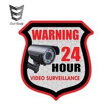 EARLFAMILY-pegatina de alarma de seguridad para Videovigilancia de coche, pegatinas impermeables con diseño de coche de 13cm X 11cm, 24 horas de advertencia