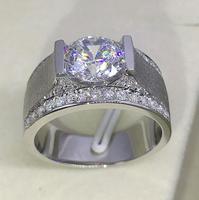 2 карата Диамант Классический 925 серебро мужское обручальное кольцо (LMYS)