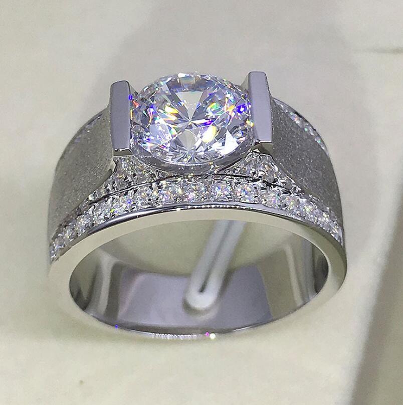 2 Carat diamant Classic 925 sterling Silver Mens  Wedding Ring (LMYS)2 Carat diamant Classic 925 sterling Silver Mens  Wedding Ring (LMYS)