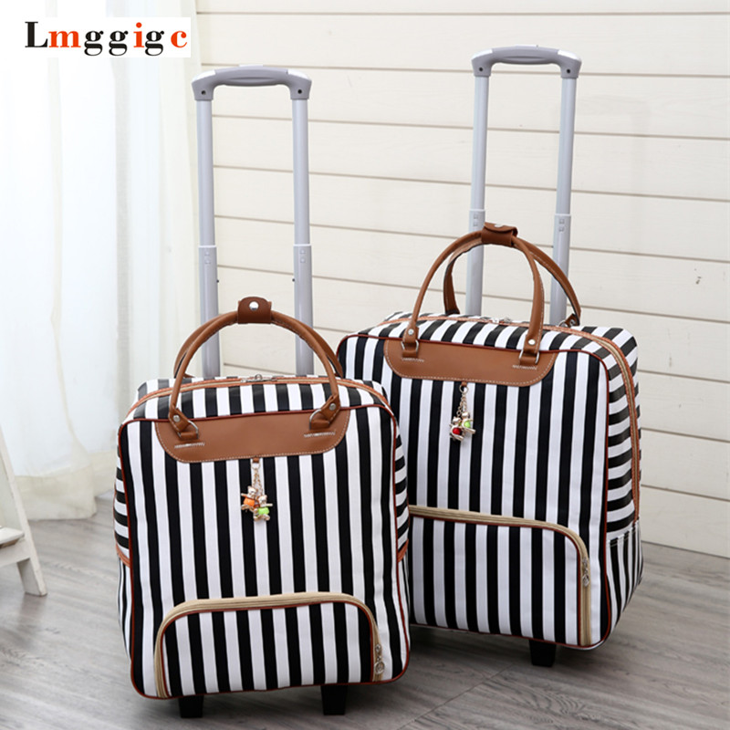 Women Travel Luggage Suitcase Bag,Cabin Waterproof Oxford Cloth Rolling Trolley Case,PU Leather Carry-Ons Wheels Dragboxes