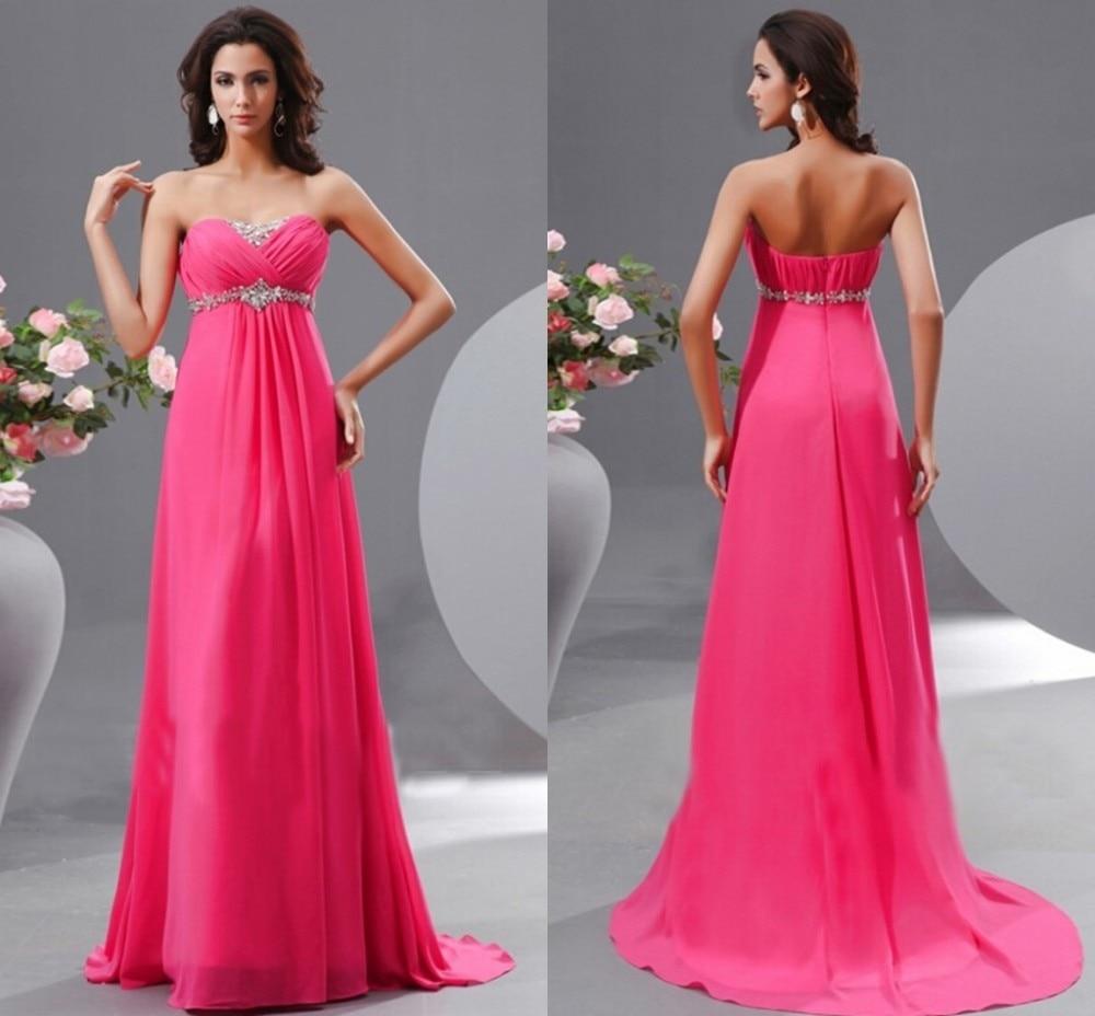Fuchsia Chiffon pleat Prom Dresses Strapless Floor length Crystal Beaded  Elegant  Pageant Dresses