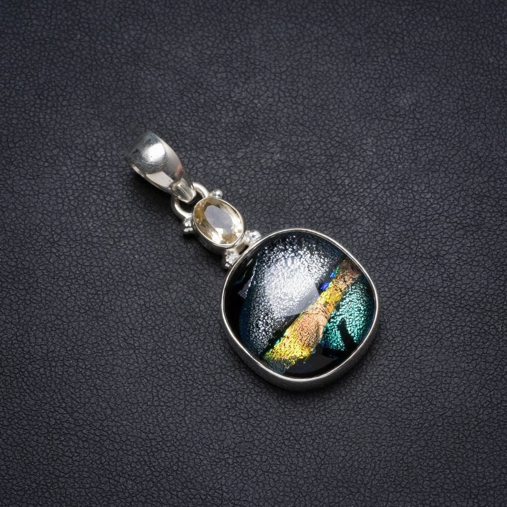 Natural Fancy Dichroic Glass andCitrine Handmade Unique 925 Sterling Silver Pendant 1.75 X0902Natural Fancy Dichroic Glass andCitrine Handmade Unique 925 Sterling Silver Pendant 1.75 X0902