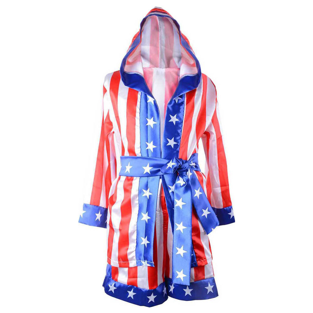 Child Boy Red Rocky Balboa Boxer Costume & Shorts Movie Boxing Robes Costume for Kids Apollo Flag image