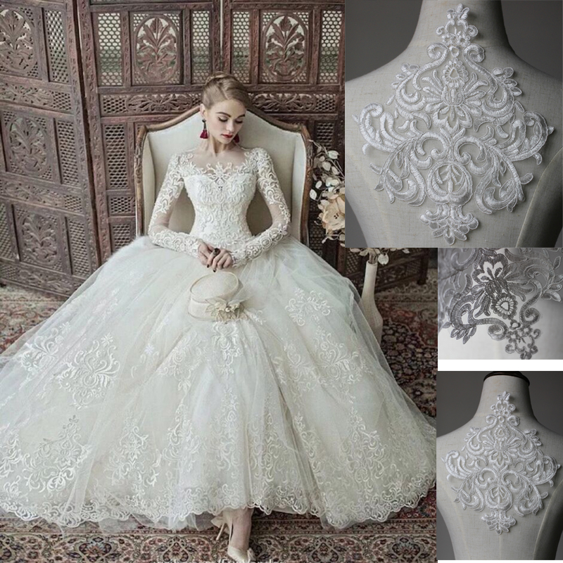 Wedding Dress White Glitter: 5 Pieces Glitter Refined Luxury Sequined White Lace