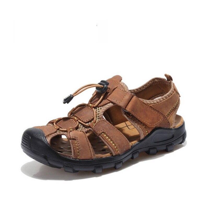 edca484d3d93 Leather Sandals Men Summer Sandal Shoes Outdoor Sport Beach Sandals Close  Toe Breathable Leather Walking Beach Men Shoes SAD195-in Women s Sandals  from ...