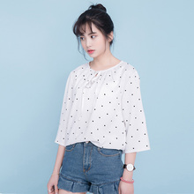 2017 Women'S Kawaii Spring And Summer Sweet Lacing Polka Dot Chiffon Shirt Female Thin Harajuku Blouses For Women