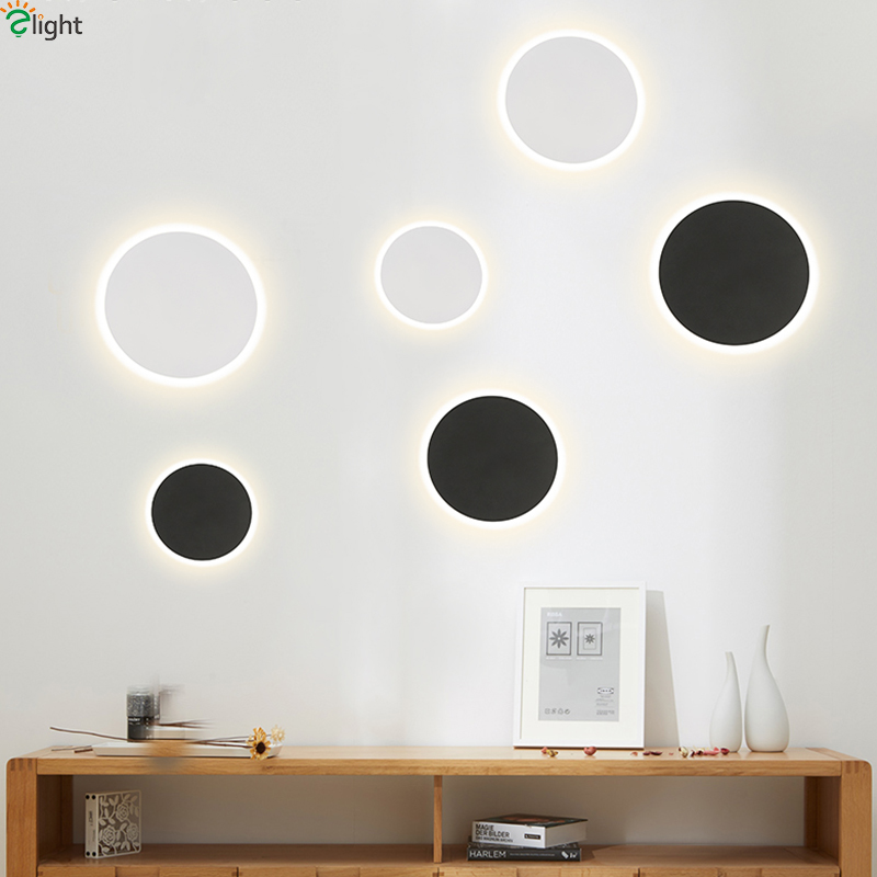 Us 3984 43 Offnordic Round Moon Led Wall Lamp Bedroom Blackwhite Metal Led Wall Lights Living Room Led Wall Light Fixture Corridor Led Sconce In