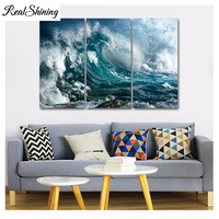 Blue Sea Waves 5d diy diamond painting 3 pcs resin square drill full diamond embroidery triptych Cross Stitch home decor FS3683