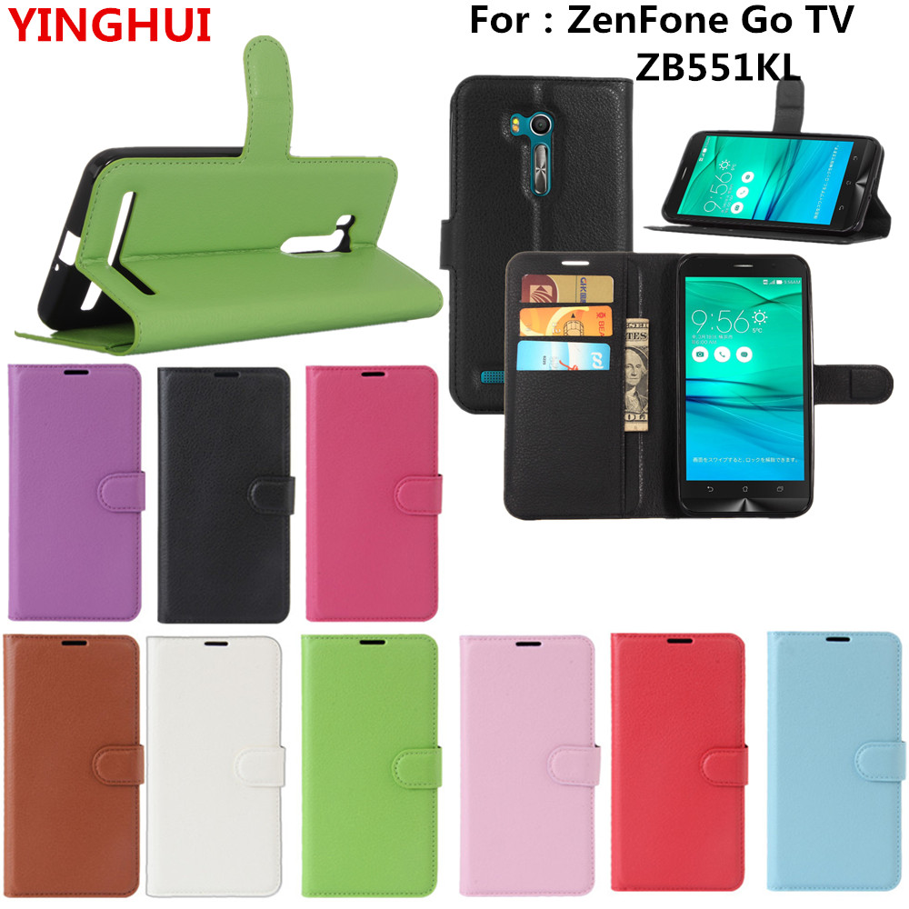 For ZenFone Go TV ZB551KL Case 5.5inch Luxury Leather Flip Wallet Stand Case Cover For Asus ZB551KL Card Holders Phone Case