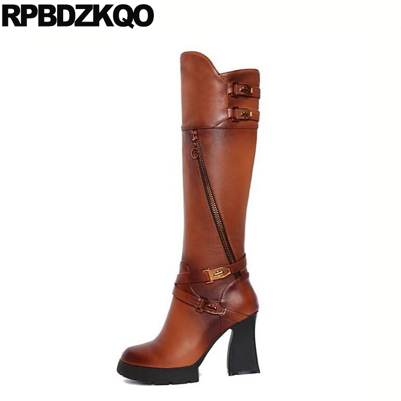Platform Long Knee High Metal Heel Chunky Female Side Zip Boots Waterproof Fetish Black Casual Round Toe Fur Dance Shoes Fashion 2015 hottest drop shipping vintage round toe strappy zip knee high boots studs chunky heel leather boots women high heels j459