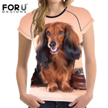 FORUDESIGNS New Fashion Women Summer T Shirts Cute 3D Dog Woman Casual Short Sleeved Shirts For Girls Bobybuilding Mujer Clothes