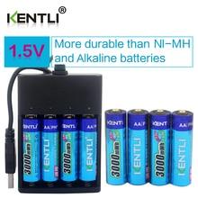 KENTLI 8 adet 1.5 v 3000mWh AA şarj edilebilir Li-polimer li-ion polimer lityum pil + 4 yuvaları USB akıllı şarj