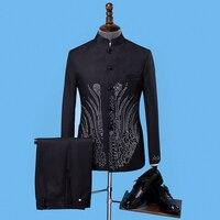 2018 Новое поступление, Брендовые мужские костюмы, черные, с блестками, китайская туника, костюм, стоячий воротник, свадебные обтягивающие бле