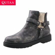 QUTAA 2020 מזדמן בוהן עגול עור מפוצל קרסול מגפי אופנה מתכת קישוט כיכר העקב רוכסן חורף נשים נעלי גודל גדול 34 43