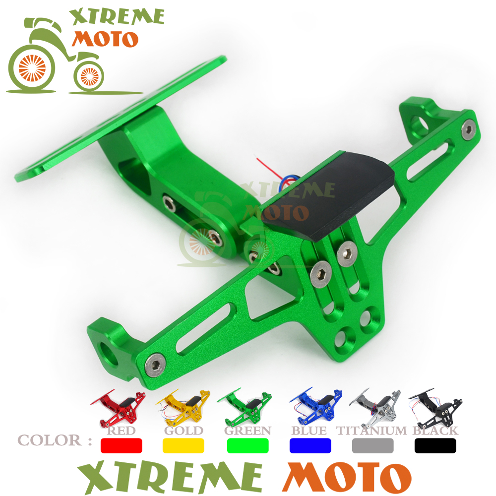 цена на Green Universal Adjustable CNC LED Light Number Plate License Holder Bracket Mount Clamp For Motorcycle Motocross Street Bike