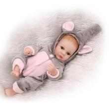 2016 New 27CM mini Bebe Reborn Full Body Silicone Reborn Babies Gray Jumpsuit Boneca Toys for Girl Gift Juguetes Brinquedos