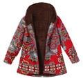 Bohemian style Ladies Coat Womens Winter Warm Outwear Floral Print Hooded Pockets Vintage Womens folk-custom Oversize Coats