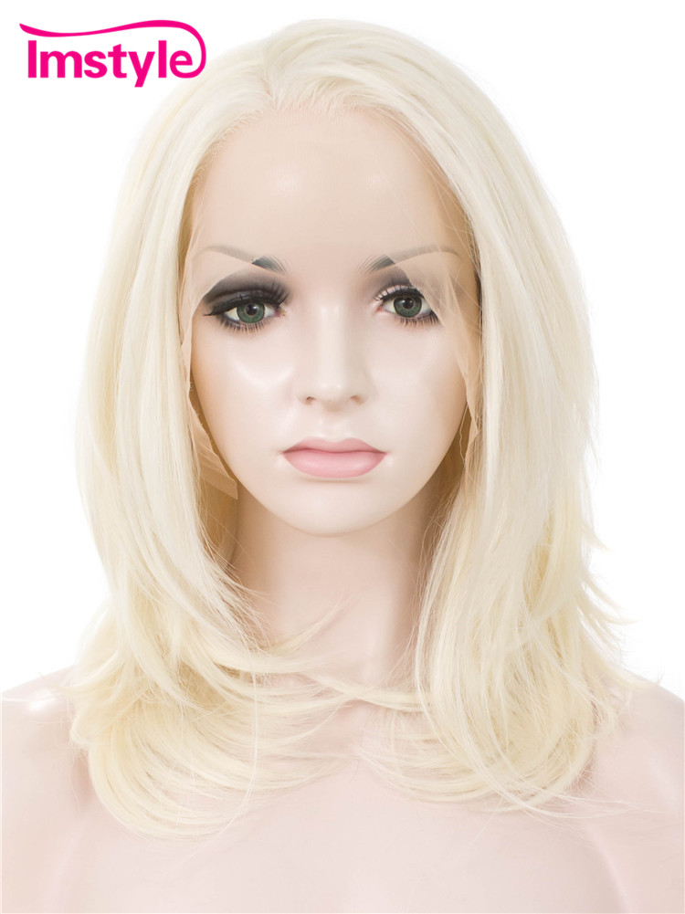 Imstyle Straight Synthetic pure white mix ash blond 14 lace front bob wig for women black blonde color
