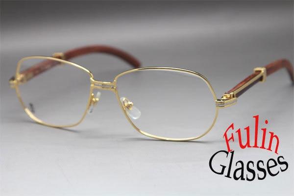 New Unisew 569 Wood Eyeglasses Larger 18K Gold Glasses Frame Size ...
