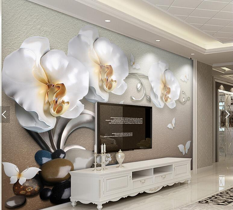 butterfly orchid floral 3d wall paper for living room. Black Bedroom Furniture Sets. Home Design Ideas