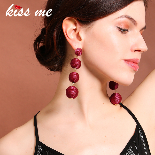 KISS ME 4 Colors Bohemian POM POM Ball Earrings Hanging Long Drop Earrings for Women Fashion Jewelry