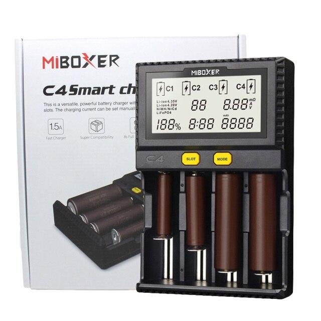 מקורי Miboxer C4 LCD חכם סוללה מטען עבור ליתיום IMR INR ICR LiFePO4 18650 14500 26650 16340 AAA AA סוללות 100 1500mA