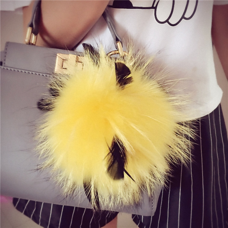 15CM Big Fluffy Bag Bugs Pompom Keychains With Feather Real Fox Fur Ball Key Chain Bag Charm Monster Pompom K050-yellow