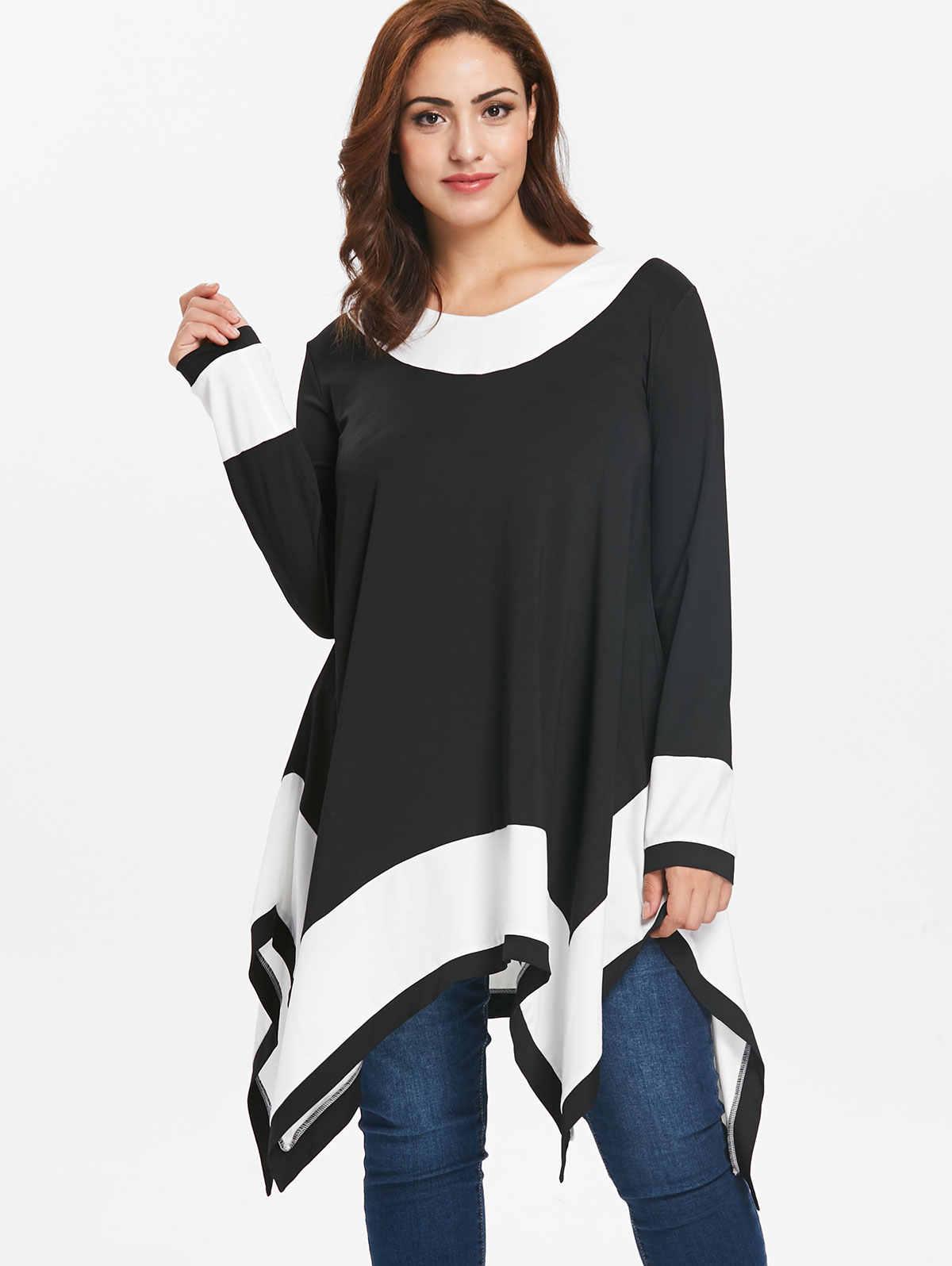 0ce289dd2b787 Wipalo Plus Size 5XL Contrast Long Sleeve Handkerchief T-Shirt Female  Autumn Tunic T-