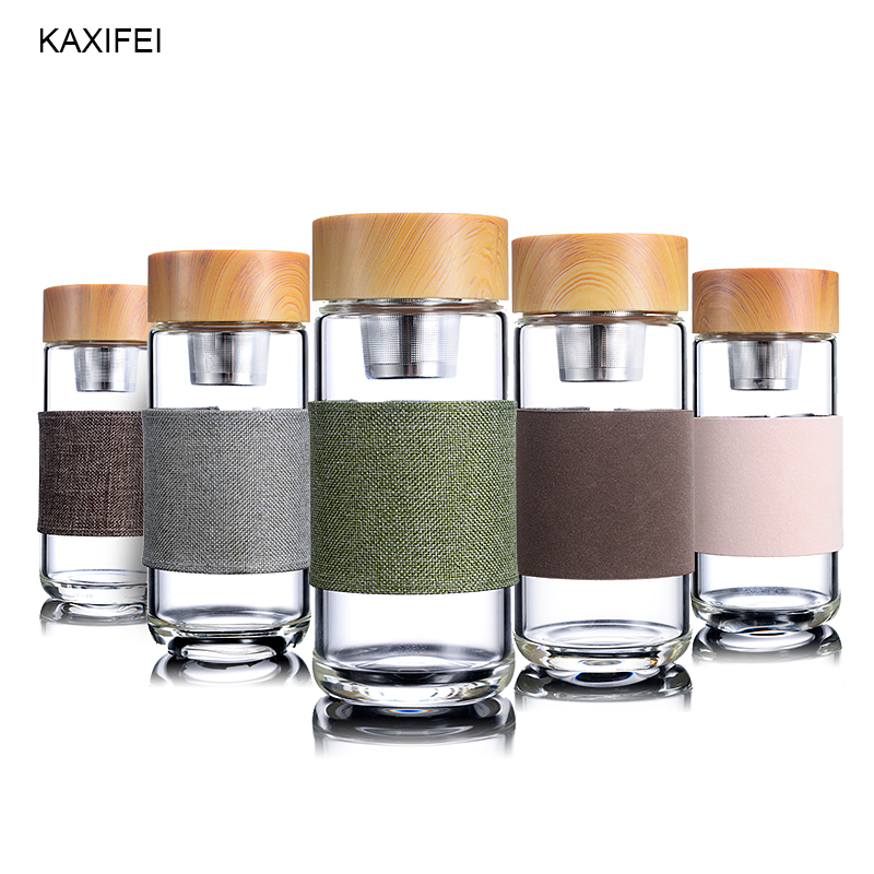 ZOOOBE Glass Tea Infuser Tumbler Stainless Steel Filter Portable Tea Leak Proof Drinking Water For Bottles With Cover