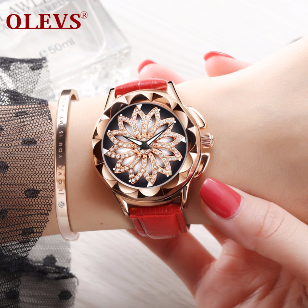 OLEVS Women Watches 2018 New Party Club Fashion Rhinestone Dress Ladies Watch Waterproof Creative Rotating Dial relogio feminino