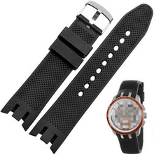 Silicon Rubber Strap 21mm black double-deep recesses Replacement Watch Band for Swatch YRS watch