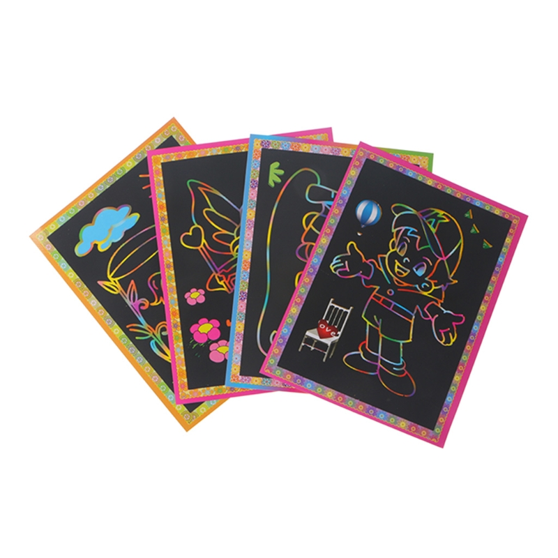 Magic Kids Rainbow Scratch Art Painting Book Scratching Paper Education Handmade Diy Picture Book Child Cartoon Doodle Draw Pad