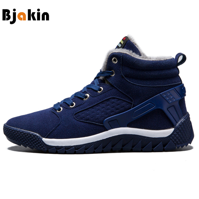 Snow Running Shoes >> Bjakin Winter Men Running Boots Outdoor Warm Plush Sneakers Leather
