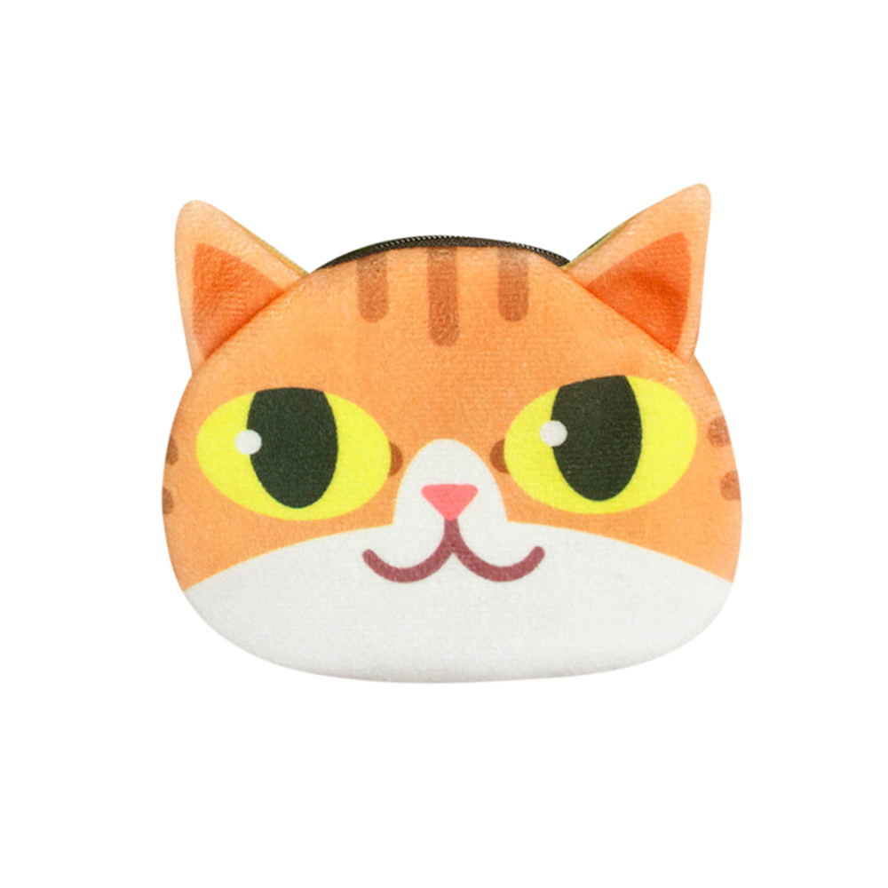 Female Women Coin Purses Cute Print Cat Cartoon Face Girl Coin Purse Change Bag Wallet Drop Shipping Versatile Billetera A0