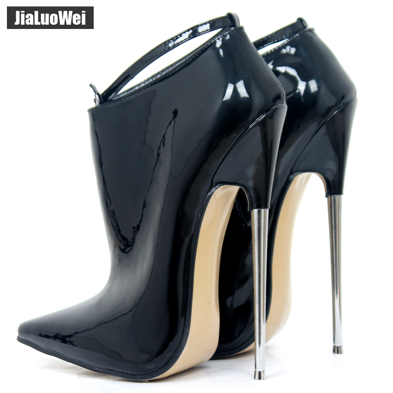 9af37f53070 ... Sexy Fetish Ankle Boots. . jialuowei New Fashion 18cm Ultra High Heel  Shoes Pointed toe Metal Heels Zip Buckle Strap Women. sku: 32820344775