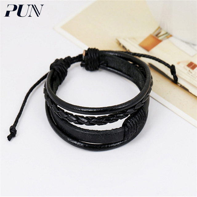 Pun Braclet Hand Chain Braslet Charm Personalized Leather Braided Bracelet Femme Female Male Men Bts