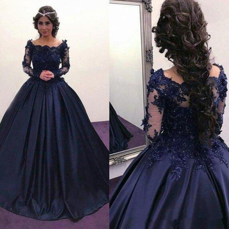 Robe de bal en Satin bleu marine avec Appliques en dentelle perles col Bateau robes de soirée personnalisées pour princesse élégante nouveautés