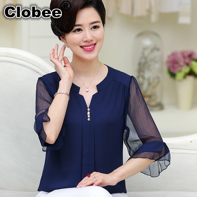 bb7b668822e Clobee Summer Plus Size Women Loose Chiffon Blouses Lace Middle-Aged Women  Tops Plus Size Blusas roupas feminina inverno 2017