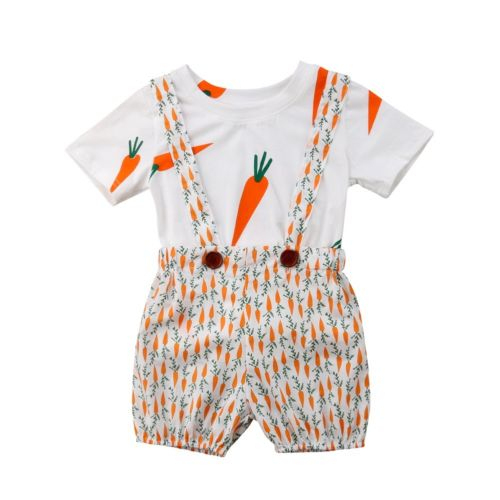 2PCS Cute Kids Baby Girls Boys Short Sleeve Carrot Print T-shirt Tops +Bib Short Pants Overalls Clothes Kids Outfits Set
