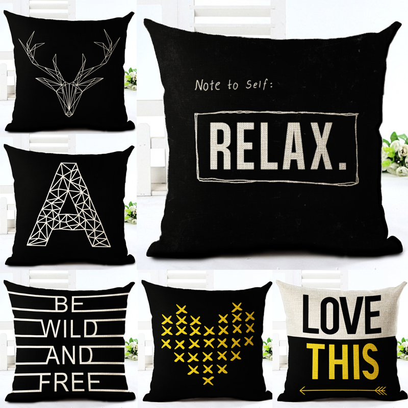 Decorative throw pillows letter note to self relex love be wild and free cotton linen cushion cover for sofa home decor almofada