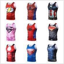 Новинка 2018 года, мульти-Юнион, Человек-паук, Капитан Америка, Супермен, 3D принт, без рукавов, жилет для бодибилдинга, эластичные мужские майки для фитнеса