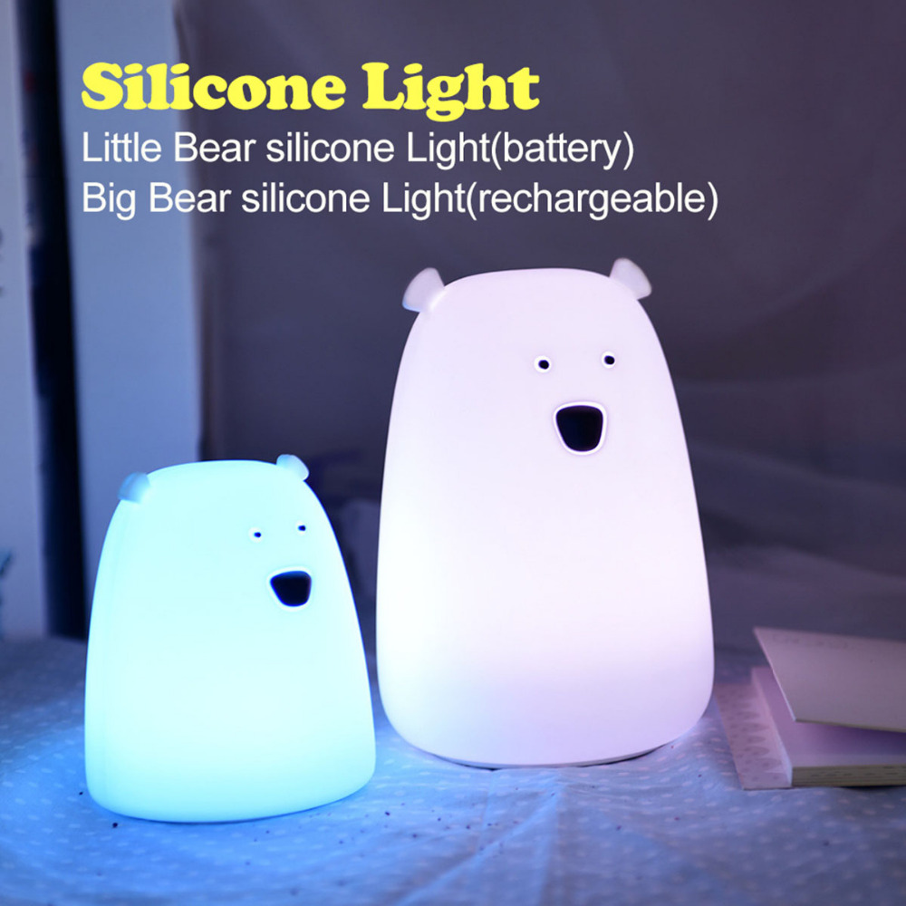 Changing Color Bear Silicone LED Night Light Chargeable Battery Touch Sensor Lights 2Modes Children Baby Kids Night Lamp Bedroom
