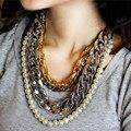 Moda 4 circels capas steampunk collar llamativo cadena de la perla collares cadenas punk collar mujeres joyería de perlas