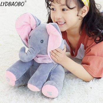1PC 30cm Peek A Boo Elephant & Bear Stuffed Animals&Plush Doll Play Music Elephant Educational Anti-stress Toy Gift For Children 1