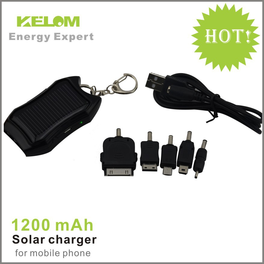 Free shipping portable 1200Mah mini keychain solar charger for for ipad, iphone, smart phone