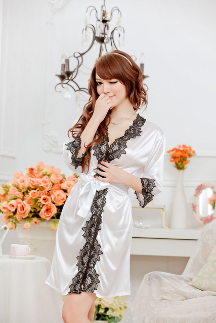 Hot Sell New Sexy Lingerie Fashion Lace Edge Solid Floral Decorative Women Robe Set Spandex Lycra Half Sleeve Sleepwear 139